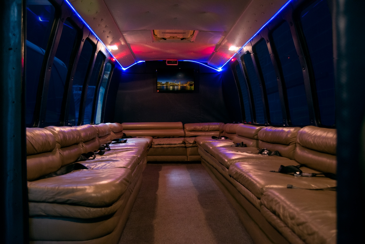 inside 18 passenger party bus